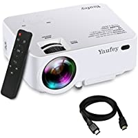 Yaufey 1500 Lumens LCD Mini Projector, 1080P HD Multimedia Home Theater Movie Projector with Free HDMI Cable Support HDMI USB SD Card VGA AV for Laptop iPhone Andriod Smartphone TV(White)