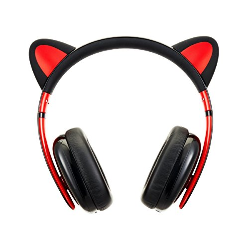 Censi Music Headset Headphone Creative Cat Ear Stereo Over-ear Game Gaming Bass Headset Noise Canceling Headband Earphone for ipad, PC, iphone and Android Smartphones (Black, Wired)