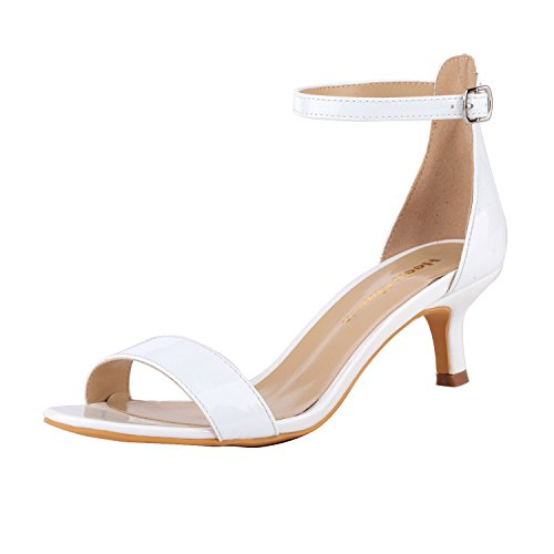 High Heel Patent Leather Sandals - Women's Heeled Sandals Ankle Strap High Heels 5CM Open Toe Low Sandals Bridal Party Shoes Patent Leather White Size 6.5