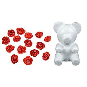 Yalulu 35CM Bear-Shaped Modeling White 3D Polystyrene Foam Bear + 600 Pcs Mini Foam Rose Flower for DIY Rose Bear 96