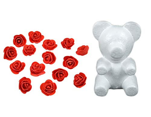 (Yalulu 35CM Bear-Shaped Modeling White 3D Polystyrene Foam Bear + 600 Pcs Mini Foam Rose Flower for DIY Rose Bear)