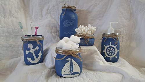Cheap Nautical Mason Jar Bathroom Set