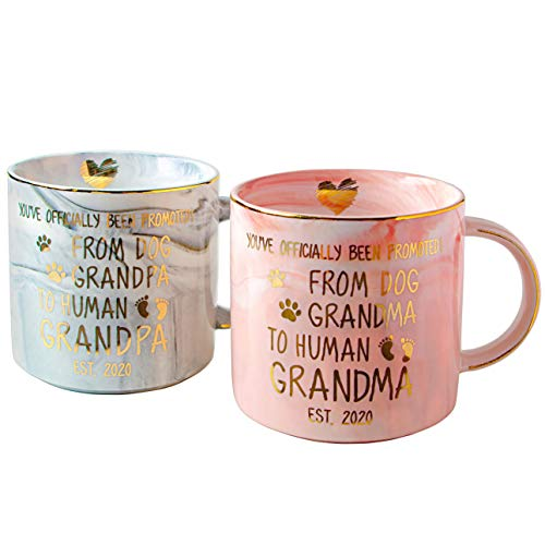 Vilight Funny New Grandma and Grandpa Gifts 2020 - Pregnancy Announcement Mugs - Promoted from Dog Grandparents to Human Grandparents Cups 11.5 oz