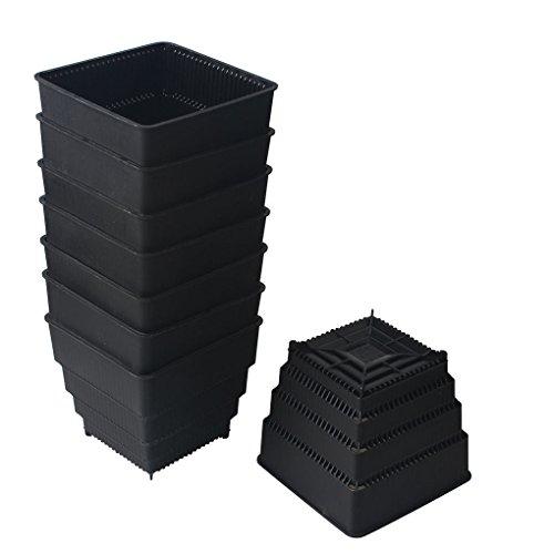 black flower pot 8 - 9