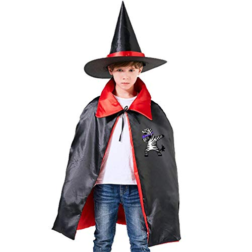 Kids Dabbing Zebra Halloween Costume Cloak for Children Girls Boys Cloak and Witch Wizard Hat for Boys Girls Red -