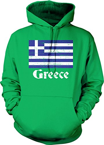 fan products of Flag of Greece, Greek Flag, Hellas Pride Hooded Sweatshirt, Hoodteez XL Kelly