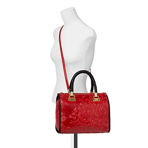 Santa Firenze - Bolso Coffre de Auténtica Piel Italiana de color Rojo Escarlata