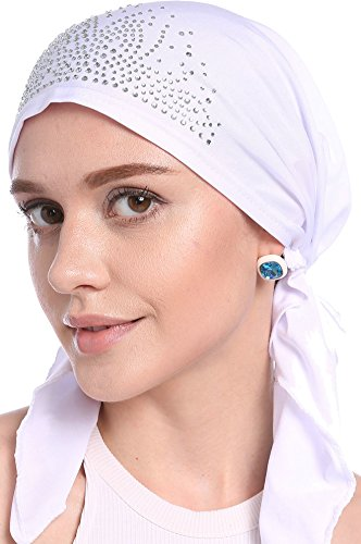 Ababalaya Women Elastic Drill Muslim Headwrap Chemo Cap Cap Turban Hat Hair Cover in 9 Colors ()