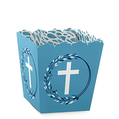 Blue Elegant Cross - Party Mini Favor Boxes - Boy Religious Party Treat Candy Boxes - Set of 12