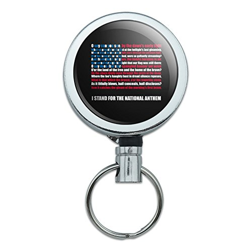 I Stand USA National Anthem Star-Spangled Banner American Flag Patriotic Heavy Duty Metal Retractable Reel ID Badge Key Card Tag Holder with Belt Clip