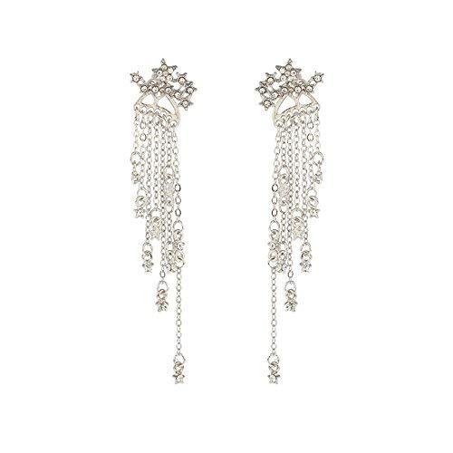JUESJ Shooting Star Long Tassel Dangle Earring for Women Girls (Silver) (Gold Heart Hanging)