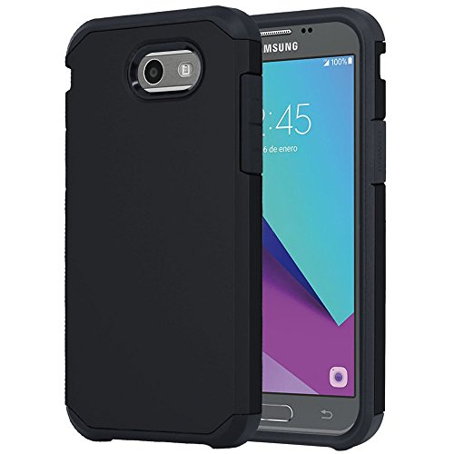 Galaxy J7 V Case, Galaxy J7 Prime Case, Galaxy J7 Perx Case, Galaxy J7 Sky Pro Case, OEAGO Samsung Galaxy Halo 2017 Case Shockproof Drop Protection Impact Rugged Armor Case Cover - Black