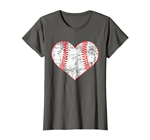 Womens Baseball Heart Shirt, Softball Mom Sports Gift Large (Heart Baseball T-shirt)