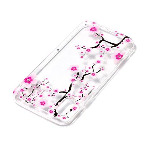 Coque iPhone X Fleur de prunier Premium Gel TPU Souple Silicone Transparent Clair Bumper Protection Housse Arrière Étui Pour Apple iPhone X / iPhone 10 (2017) 5.8 Pouce + Deux cadeau