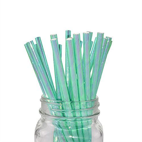 (Ipalmay Sparkle Foil Green Mermaid Cocktail Paper Straws, Disposable Biodegradable Drinking, 7.75 Inches, Pack of 100)