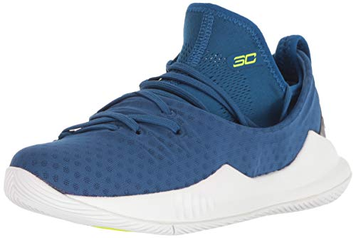 Under Armour Boys' Pre School Curry 5 Basketball Shoe, Moroccan Blue (401)/White, ()