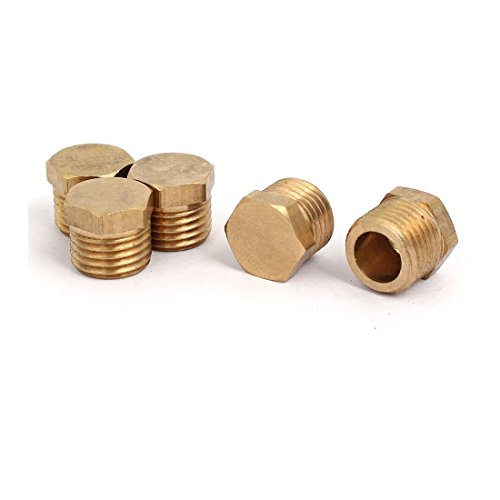 uxcell 5 Pcs 1/4BSP Male Thread Brass Hex Head Pipe Plug Connector Fitting