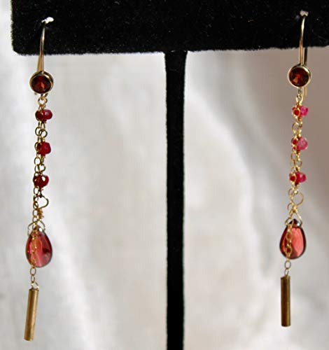 Natural untreated ruby and garnet earrings with 14K gold baguette ()