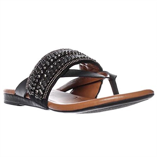 Arturo Chiang Womens Lyra Split Toe Casual Leather Flat Sandals, Black, Size 8