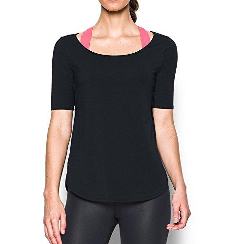 Under Armour Women's Essential Demi T-Shirt, Black/Gray Area, Large
