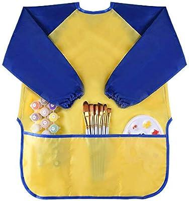 Grembiuli Plastificati Per Bambini.Wawhy Grembiule Da Pittura Scuola Grembiulino In Plastica Impermeabile Antiusura Maniche Lunghe Comode Tasche Per Bimbi Bambini 2 A 6 Anni Giallo