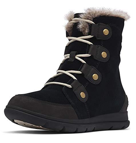 Sorel - Women's Explorer Joan Waterproof Insulated Winter Boot, Black/Dark Stone, 8.5 M US