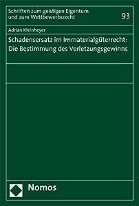Schadensersatz Im Immaterialguterrecht: Die Bestimmung Des Verletzungsgewinns (Schriften Zum Geistigen Eigentum Und Zum Wettbewerbsrecht) (German Edition)