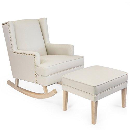 Barton Upholstered Nursery Gilder Rocking chair w/ Ottoman Set, Full Size
