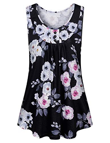 (Tanst Sky Aline Tops for Women, Fun Tunic Top Summer Scoop Neck Sleeveless Flattering Blouse Curved Hem Floral Printed Button Trim Flowy Petite Tunics Airy Vacation Clothes for Leggings Black Medium)