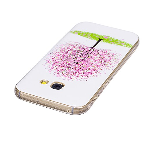 Funda Samsung A3 2017, CaseLover Carcasa Noctilucent Luminous TPU Silicona para Samsung Galaxy A3 2017 A320 (4.7 pulgadas) Ultra Delgado Suave Fluorescente Efecto Verde Brillo Nocturno En la Oscuridad Árbol rosado