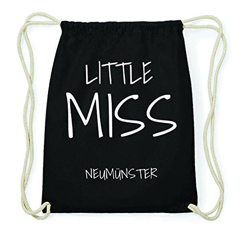 JOllify NEUMÜNSTER Hipster Turnbeutel Tasche Rucksack aus Baumwolle - Farbe: schwarz Design: Little Miss oyrCQ0R