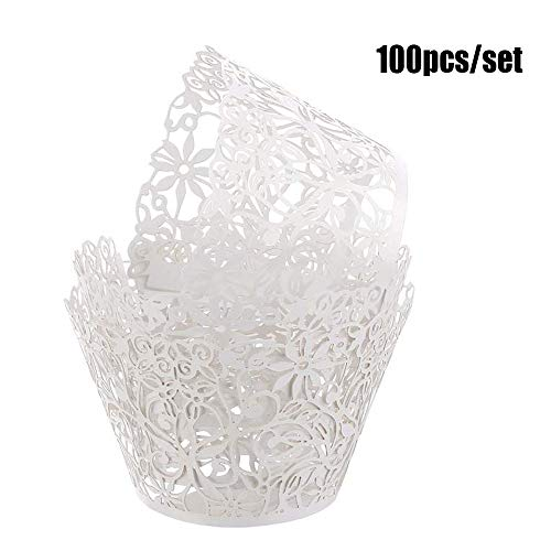 Cupcake Wrappers 100pcs White Flower Lace Hollow Cupcakes Decorations for Baby Shower Wedding Birthday Party Supplies -