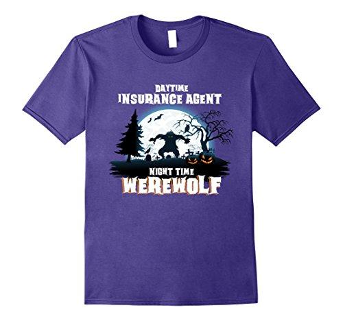 Insurance Agent Costume (Mens Insurance Agent Werewolf At Night Halloween Costume Shirt 2XL Purple)