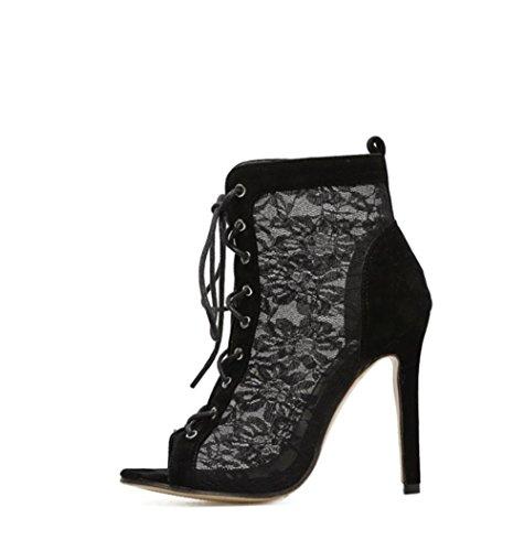 Best Net Zapatos de Sandalias Primavera mujeres Peep las toe tacón alto Zapatos Lace 4U® 11 up Otoño CM de Negro frUqxf