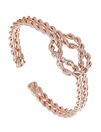 HTVNG Men and Womens Copper Magnetic Twist Knot Bracelet Cuff Bangle High Polished Finish