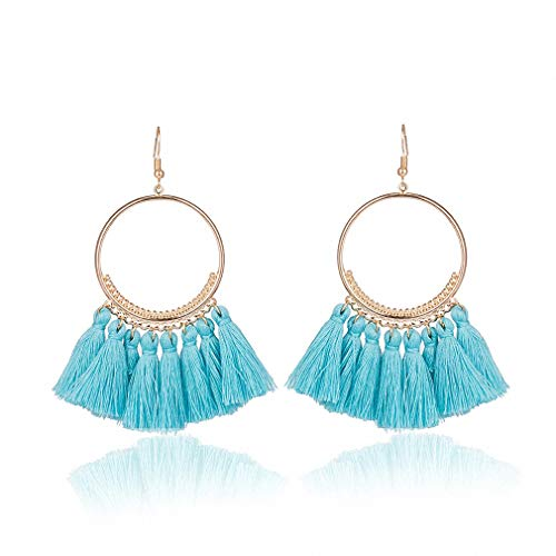 Square Shaped Marcasite Ring - Womens Stud Earrings Fashion Bohemian Ethnic Fringed Tassel Earrings for Women Golden Round Circle Ring Dangle Hanging Drop Earrings Jewelry Sky Blue