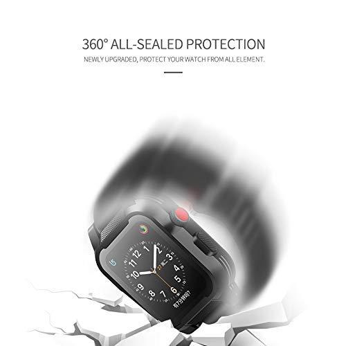 Waterproof Apple Watch Case 42mm, Waterproof Case for Apple Watch Generations 3&2, Ip68 Waterproof Dust-Proof Shockproof Case with Watchband Black by Homegician (Image #3)