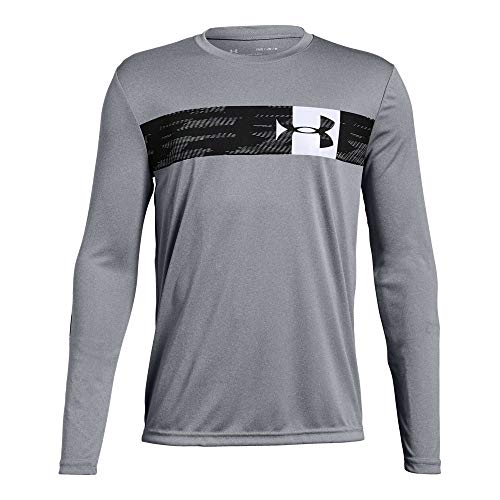 Under Armour Boys Pixel Crossbar Long sleeve Tee, Steel Light Heather (035)/White, Youth X-Large
