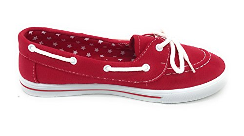 Flat Canvas Comfy Shoe Red On up EASY21 Berry Boat Slip Tennis Sneaker Blue Round Lace Toe qFXwE