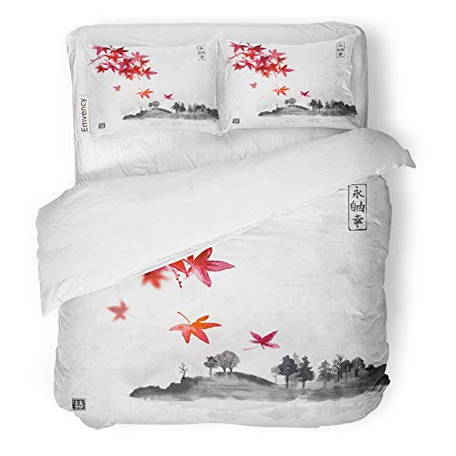 Emvency Decor Duvet Cover Set Full/Queen Size Red Japanese Maple Leaves and Island with Trees in Fog on Rice Traditional 3 Piece Brushed Microfiber Fabric Print Bedding Set Cover