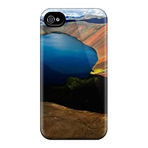 New Style AntonioKennedy Arctic Blue Lake Volcanic Premium Tpu Cover Case For Iphone 4/4s