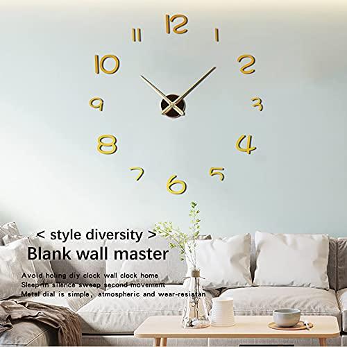 31-47 Inch Reloj Silencioso Number DIY 3D Reloj de Pared Cuarzo Decoración de la Oficina en Casa Reloj de Arte Vinilos Decorativos Artísticos(C)