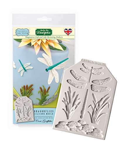 Katy Sue Designs Dragonflies Silicone Royal Icing Mold, Ceri Griffiths Creative Cake System for Decorating, Sugarpaste, Fondants, Candies and Crafts, Food Safe