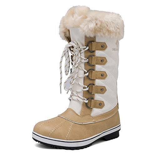 DREAM PAIRS Women's River_1 Beige White Mid Calf Winter Snow Boots Size 10 M US from DREAM PAIRS