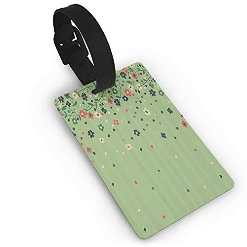 Funky Travel Luggage Tags Floral,Colorful Spring Season Flowering Branch with Bouquet Petals Retro Artsy Design,Pistachio Green Environmental Protection Cover Luggage Tag ()