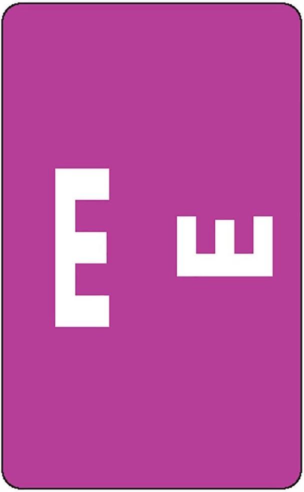 Smead AlphaZ ACCS Color-Coded Alphabetic Labels, Letter E, Purple, 100 Labels per Pack (67175)