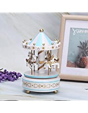 Carousel Music Box, Carousel Gift, Wedding Birthday for Girls for Kids(blue)
