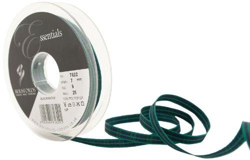 Berisfords 7622 25 m x 7 mm Traditional Tartan Ribbon, Black ()
