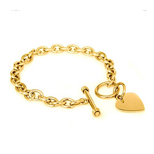 - Noureda High Polished Gold Plated Noureda Stainless Steel Heart Charm Cable Chain Bracelet with Toggle Clasp (Length: 7.5