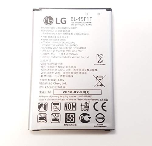LG Replacement Battery For Aristo M210, K8, M210, M153 BL-45F1F, 2410mAh (Bulk Packaging)